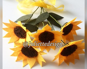Set of 5 Sunflowers, Sunflowers, Felt Sunflowers, Felt Flowers, Bouquet, Wedding Flower