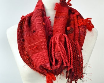 Boho Scarf - Wool Scarf - Winter Scarf - Red Infinity Cowl - Infinity Scarf - Plaid Scarf - Boho Accessories - Hand Woven Scarf - Scarves