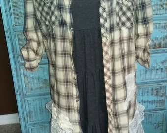 Country Girl Shirt Junk Gypsy Boho Top Recycled Clothing Anthropologie Shirt. Free People Style Shabby Chic Revival Plaid Cowgirl Glam