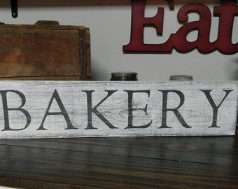 White & Black BAKERY FarmHouse Rustic Primitive Country Wooden Sign