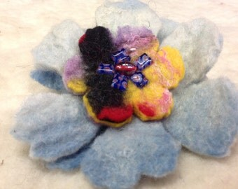 Hand felted flower brooch Large size