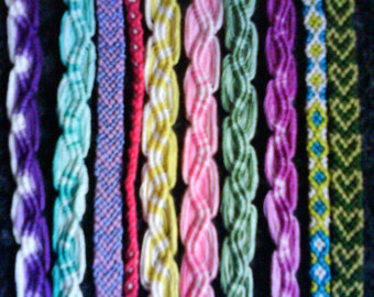 Set Of 10x Assorted Hand Woven Friendship Bracelets Summer Holidays Festivals Hippy Boho