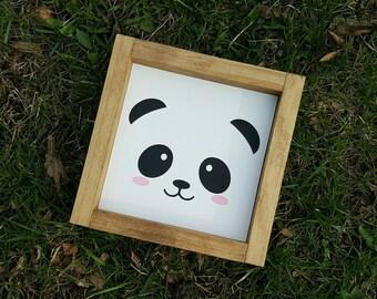 Panda Face Mini Wood Sign