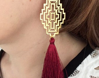 Art Deco earrings, Gold earrings with a burgundy tassel, Tassel earrings, Gold earrings, Burgundy earrings, Art deco jewelry, Gift for her