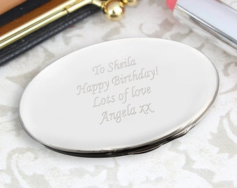 Personalised Ladies Oval Compact Mirror, Engraved Gift For Her, Mum, Daughter, Wife, Mother, Grandma
