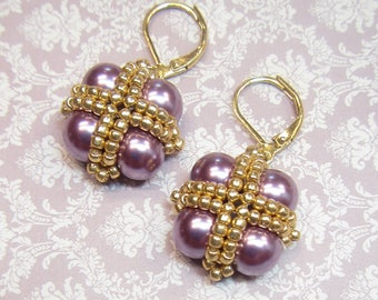 Lilac Pearl Earrings, Lilac and Gold Pearl Earrings, Lilac Bridesmaid Earrings