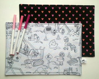 Washable colouring mats | Pattern construction, behind bun with heart | Doily coloring, play for the restaurant, Color me, child, Lunch