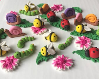 Fondant 3D Lady Bugs Snails Bees Ctrepillars Daisy Flowers Cupcake Topper Woodland Whimsical Decoration USA Seller