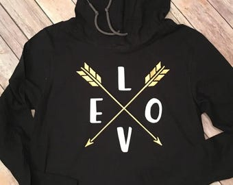 Love Arrows Long Sleeve Hooded Tee