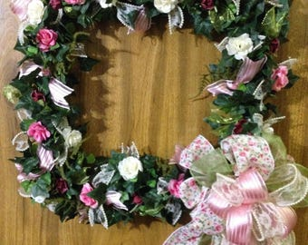 Shabby chic wreath, Square wreath, cottage wreath, Mothers day wreath