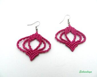 Earrings fuchsia pink macramé