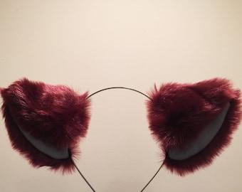 Cat ears Kitty Headwear Red Wine Grey Inside Furry Animal Headband Costume Bow Bells