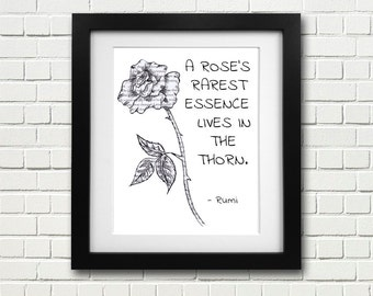Rose, Rumi - Quote - Poetry - Flower - Wall - Art - Print