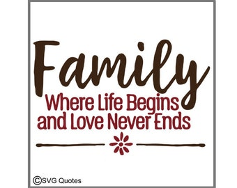 Family Where Love Never Ends SVG DXF EPS Cutting File For Cricut Explore,Silhouette& More.Instant Download.Personal and Commercial Use.Vinyl