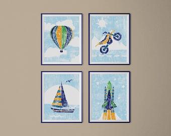 Transportation Wall Art Boys Room Decor Set Of 4 Transportation Nursery Prints Hot