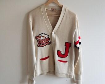 1940s letterman jacket, 1940s collegiate sweater, vintage sports sweater, vintage wool sweater, cardigans, vintage cardigans, varsity