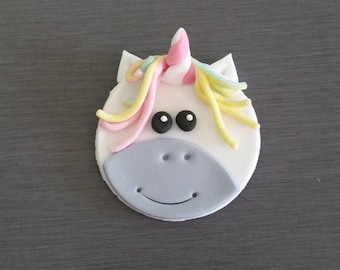 6 x Unicorn Cupcake toppers, Unicorn Decorations,  Unicorn Party, fondant Unicorn cupcake toppers, edible cupcake toppers
