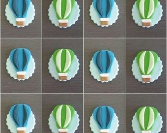 12 x Hot Air Balloon Cupcake toppers, Edible fondant Hot Air Balloons, Hot Air Balloons decorations