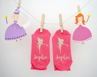 Personalised Magical Girls Socks-Fluttering Butterfly-Graceful Seahorse-Magical Fairy-Mysterious Mermaid-Quality Coloured Socks with Name!