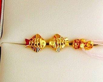 Solid 22k gold 916 gold lucky angel fish earrings earstuds