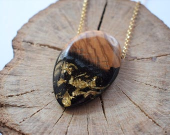 Wood Resin Pendant, Made in Italy, Handmade Necklace, B.Black n.7, Unique piece, Wood resin jewelry, Handmade Jewelry