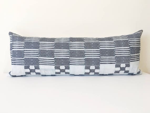 36 x 14  Light Blue Checked Long Lumbar Pillow Cover