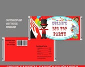 Circus Candy Bar Wrapper, Carnival Candy Bar Wrapper, Birthday Candy Bar Wrapper, Hershey Chocolate Bar Wrappers, Candy Wrappers