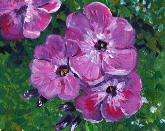 Purple Periwinkle Flower Art Print - wall art signed original acrylic painting floral  decor 4x4