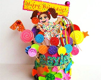 Candy Birthday cake topper -  Candies cake topper  - lollipop birthday party - Candies party centerpiece - Custom cake topper