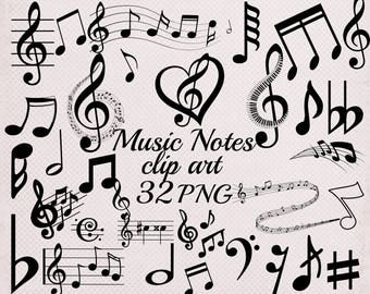 "Music Notes Clipart: ""MUSIC CLIP ART"" Black Music Notes,Music School Clipart,Musical clipart,Music symbols,Musical silhouette,Notes clip art"