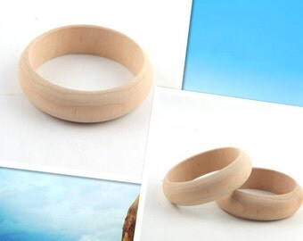 2pieces unfinished 75mm wooden bangles bracelets