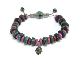 Harsha * African Turquoise & Agate Boho Style Pull - Tie Bracelet