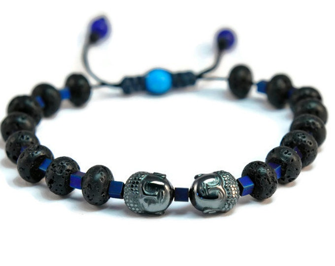Nesto *** Hematite Buda, Lava & Lapis Lazouli Boho Style Unisex Pull - Tie Bracelet
