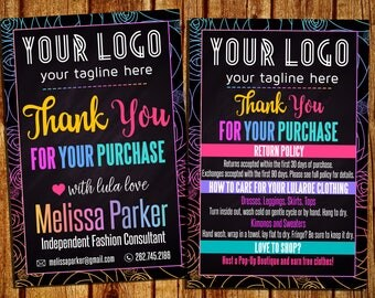 Care Card And Thank You Card - Washing And Care Instructions - Return Policy - Chalkboard/Black - Personalized - YOU PRINT