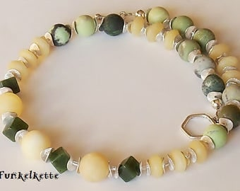 Necklace yellow green gemstone chain necklace gemstone jewelry yellow green color game special chain special unique unique