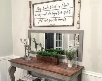 They broke bread in their homes and ate together with glad and sincere hearts, vintage wood sign