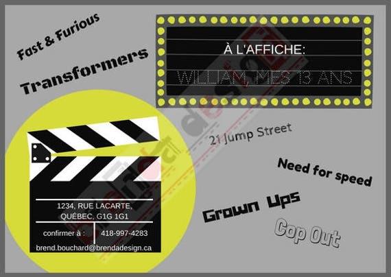 Beliebt Carte d'invitation à imprimer Fête ado Thème Cinéma KJ33