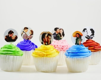 Gone With the Wind theme cupcake topper, Gone With the Wind party, Scarlett and Rhett, wedding or engagement cupcake topper