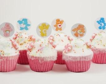 Care Bears cupcake topper double sided, Birthday cupcake picks, Care Bears cupcake picks,Birthday Bear,Cheer Bear,Friend Bear,Funshine Bear