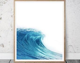Ocean Print, Beach Wall Art, Ocean Wall Art, Large Poster, Beach Photography, Ocean Wave, Beach Print, Water Print, Sea Art, Sea Print, Blue
