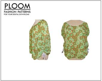 Draw-string T-Shirt PDF digital sewing pattern, top, womans ladies top, easy, blouse, shirt