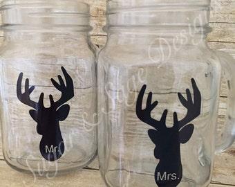 Mr. & Mrs. deer silhouette mason jar set
