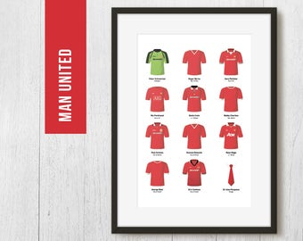 PERSONALISED Manchester United Football Team Poster Art Print *FREE UK Delivery* Gift Idea