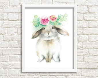 Rabbit 8 x 10 poster / Brown rabbit Illustration / drawing watercolor print / kids wall decor / Katrinn Illustration