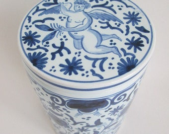 Vintage Delft Angel / Cupid Covered Canister Jar Made in Holland