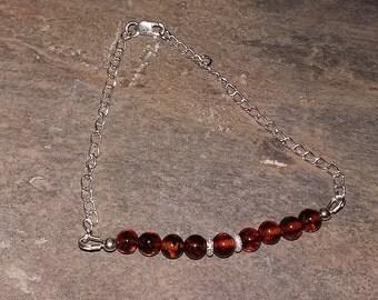 925 Sterling Silver Cognac Amber Stacker Bracelet
