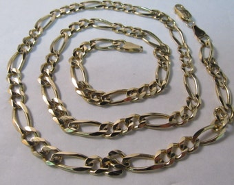 """14K Gold Figaro Chain Necklace Made in Italy, 24"""" L, Heavy #350"""