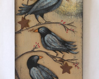 Crows and Stars Wooden Sign Picture