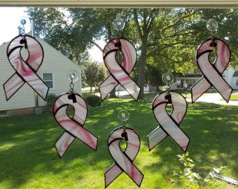Breast Cancer Ribbon Stained Glass Suncatcher