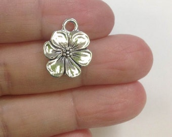 10 Hibiscus Flower charm, Flower Charm, Japanese Hibiscus Charm